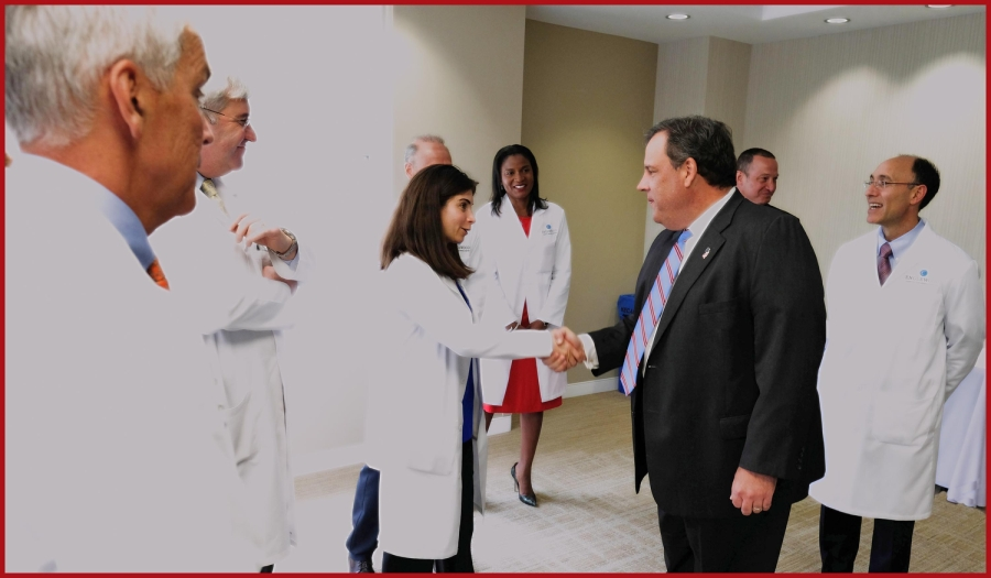 Governor Chris Christie announces New Jersey and New York have joined forces in the national fight against heroin and opioid addiction by sharing data to track prescription sales of narcotic painkillers and other drugs that often lead to addiction while at Englewood Hospital and Medical Center in Englewood, N.J. on Tuesday, April 26, 2016. (Governor's Office/Tim Larsen)